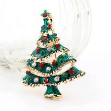 New Year Fashion Sparkly Christmas Tree color stone brooch - NEW