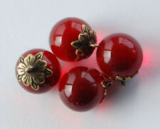 VINTAGE GLASS MARBLE BEAD PENDANTS RUBY RED GLASS BRASS CAPS 16mm