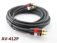 12ft Premium Grade 2-RCA 22AWG Male to Male Audio Cable, CablesOnline AV-412P