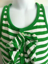 Ralph Lauren Girls Tank Top Green & White Stripe Ruffle Front Size 2T NWT