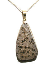 "AGATE QUARTZ DRUZY GEODE & 925 STERLING SILVER PENDANT ON 18"" STS CHAIN BNWOT"