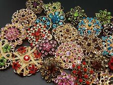 Lot 24 pcs Mixed Vintage Style Golden Rhinestone Crystal Brooch Pin DIY Bouquet