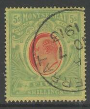 MONTSERRAT SG47 1909 5/= RED & GREEN/YELLOW FINE USED