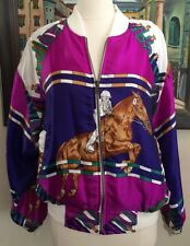Vintage Metro Satin Equestrian Jacket Horse Jumping Riding Magenta Purple 1XL