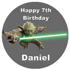 "Star Wars Yoda Cake Topper Personalised 7.5"" Edible Wafer Paper"