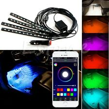 Wireless APP Music Control Car Interior RGB LED Neon Strip Light
