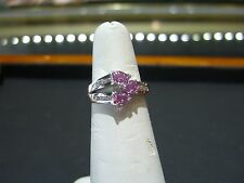 FINE 14 KARAT WHITE GOLD DIAMOND AND PINK SAPPHIRE RING HAND MADE SIZE 7.25 NEW