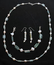 Set Of Roman Glass Bracelet, Earrings & Necklace Sterling Silver 925