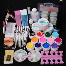 Professional 12 Color UV Builder Gel Brush Pen Nail Tips Top Coat Tools DIY Kits