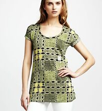 $195 Burberry Brit L Abstract Chain Check Cotton T-Shirt Blouse Lady Women NEW