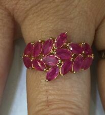 14k Solid Yellow Gold Ring 3.20GM With Natural Ruby Marquise Cut 2.70CT 3.20GM