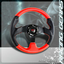 Universal JDM 6 Hole Bolt 320mm Black & Red PVC Leather Racing Steering Wheel