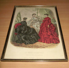 Vintage Framed La Mode 2 Illustree Bureaux du Journal French Fashion