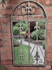 Large Gothic Ornate Vintage Grey Wash Metal Arch Arched Garden Wall Mirror NEW