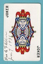 Single Swap Playing Card JOKER G22 JESTER FACE REVERSABLE 1931 GOLD OLD VINTAGE