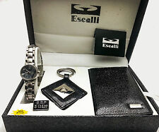 ESCALLI: WOMEN'S ANALOG WATCH, KEY CHAIN AND WALLET  GIFT SET