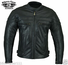 NEW STURGIS CAFE RACER MOTORCYCLE LEATHER JACKET ZIP/O LINER BRASS ZIP  2XL