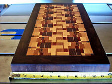 Large End Grain Cutting Board, segmented with hardwoods, framed in walnut, food
