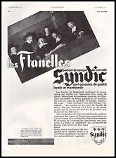 Publicité Vetement Les Flanelles SYNDIC  Reims    ad  1933 - 11h
