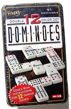 NEW Fundex Double 6 Color Dot Dominoes in Tin 28 Dominoes  - Sealed