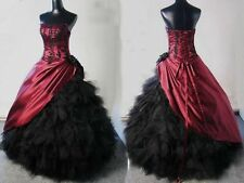 New Burgundy Black Ball Gown Victorian Wedding Prom Dress Quinceanera Dresses