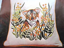 Vtg 70s Crewel Kit BUCILLA tiger cub ButterCub in the flowers PILLOW embroidery