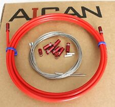 Aican Premium bike Shift Derailleur cable housing set kit Alloy Ferrules Red