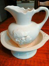 Vintage Set White Pitcher & Water Basin Bowl Ceramic with Raised Grape Design