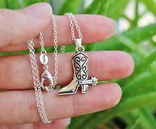 Horse NECKLACE Cowboy Boot Cowgirl Pony Lover Pendant .925 Sterling Silver Chain