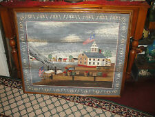 Stunning Huntington Painting On Canvas-Folk Art-Early Americana-Colony On Water