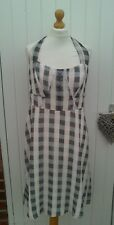 HOLLY WILLOUGHBY CHECK HALTER NECK SWING DRESS SIZE 14