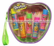 MOOSE ENTERPRISE* 6pc Lip Balm/Gloss Set SHOPKINS w/Cosmetic Bag SCENTED 1/2