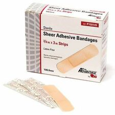 "3/4"" X 3"" SHEER ADHESIVE FLEXIBLE BOX OF 100 BANDAGES PLASTIC BAND AID STRIPS"