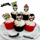 10 Penguin | Christmas winter Toppers | Pop Top | Cupcake | Cake decoration