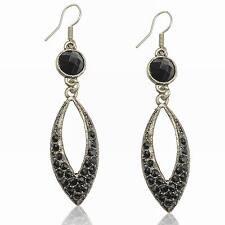 Vintage Stunning Crystal Gem Black Lucite CZ Rhinestone Hook Dangle Earrings