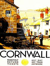TRAVEL TOURISM CORNWALL ENGLAND VILLAGE HARBOUR LIGHTHOUSE UK POSTER LV4163