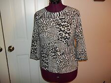 KIM ROGERS LADIES MEDIUM PETITE PULLOVER CHEETAH ZEBRA ANIMAL PRINT 3/4 SLEEVES