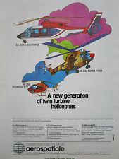 2/1980 PUB AEROSPATIALE HELICOPTERE ECUREUIL SUPER PUMA DAUPHIN 2 ORIGINAL AD