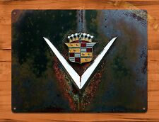 "TIN-UPS TIN SIGN ""Cadillac Logo Rust"" Garage Auto Rustic Wall Decor"