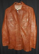 SCULLY LEATHER SHIRT JACKET BASIC STYLE BROWN BOHO LADIES SIZE 14