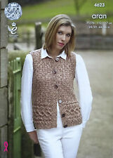KNITTING PATTERN Ladies Sleeveless Round Neck Cable Waistcoat Aran KingCole 4623
