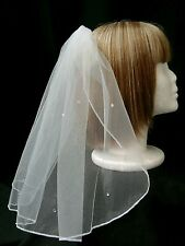 "SHORT 17"" (45cm) SHOULDER VEIL WITH SPARKLING DETAIL AND COMB – WHITE OR IVORY"