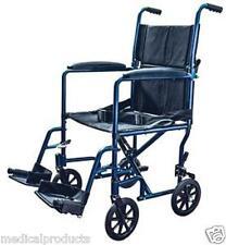 Super Lightweight Blue Aluminum Transport Chair Wheel Chair by Cardinal 19 lbs
