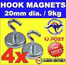 4X Magnetic Hooks Holders 20mm for Christmas Lights 9kg pull