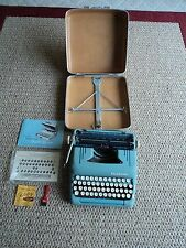 Vintage Smith-Corona Blue Portable  Silent Super Typewriter & Case With Manual