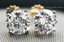 4 ct diamond round cut screwback basket stud earrings solid real 14K YELLOW GOLD