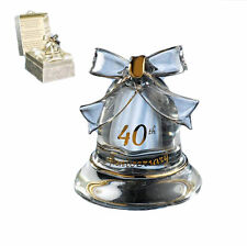40th Bell  Anniversary Gift - Crystal Bell   Rubby Wedding Gift -  NEW  1944