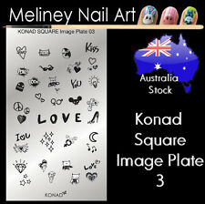 Konad Square Image Plate 3 for Stamping Nail Art Transfer Stencils Love Owl