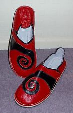 FUNKY LEATHER MOROCCAN BABOUCHE SLIPPERS 10/44 RED