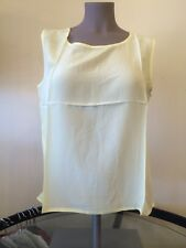 NEW M 100% SILK soft Yellow Pastel Sleeveless Tank Top Shell cami ladies Easter